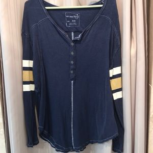 Free People Navy Rugby style shirt